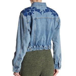 Free People Embroidered Cinched Waist Denim Jacket